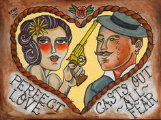 Perfect Love tattoo print, 12 x 16, originally painted in acrylic on canvas.