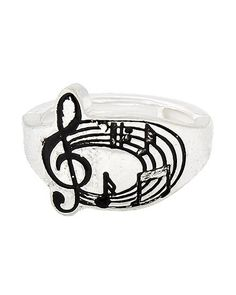 Silver tone stretch music ring. Fits most.