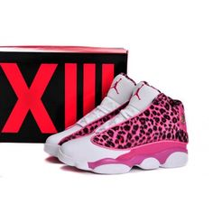 Pink Leapord Print Air Jordan 13 Basketball Shoes For Women