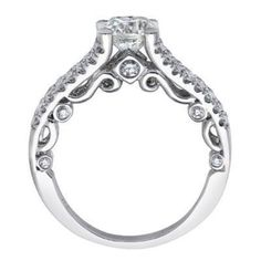 Cubic Zirconia Engagement Ring- 1.07 TCW Split Band with Vintage Scroll Accents