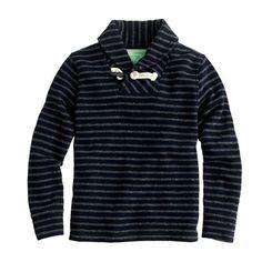 Boys' stripe shawl-collar popover