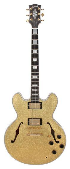 Gibson Custom Shop Electric Guitar ES 355 Gold Sparkle | Rainbow Guitars