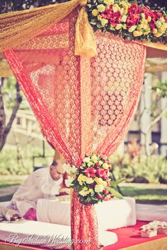 Mandap decor - only the side is visible. Would love to see what the whole thing looks like!