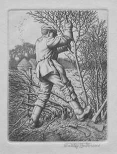 """""""Hedge laying"""" by Stanley Anderson (engraving)"""