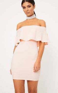 Keep it classy with our Nude Bardot Frill Bodycon Dress, girl. Pair it a pair of heels and accessories for a hot new look. Casual Day Dresses, Cheap Prom Dresses, Dressy Outfits, Trendy Dresses, Sexy Dresses, Short Dresses, Fashion Outfits, Wedding Dresses, Sequin Evening Dresses