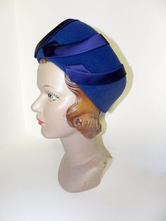 1960s Royal Blue Hat With Silk Charmeuse Accents -on sale-