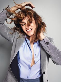 Yasmin Le Bon wearing a jacket and blouse from the Giorgio Armani New Normal collection
