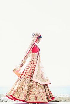 Red and Gold Manish Malhotra Bridal Lehenga | Melanie + Neeraj | Indian Wedding Blog | Think Shaadi