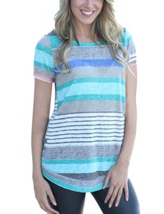 HUHHRRY Women's Casual Color Block Short Sleeve T Shirt Tunic Tops BlousePrice: (as of - Details) HUHHRRY Women's Striped Blouse Long Sleeve with Button Up Tunic Shirt About women colorful striped tunic shirts: I. Sweaters And Leggings, Casual Sweaters, Casual T Shirts, Basic Tops, Comfy Casual, Sweater Fashion, Distressed Denim, Shirt Blouses, Clothes