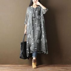 Retro Embroidered Women Loose Casual Cotton Summer Gray Dress