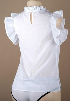 L Shoulder Width(cm) : Bust(cm) : Length(cm) : Waist(cm) : Type : Loose Color : White Decoration : Ruffle Material : Cotton Collar : Band Collar Pattern : Polka Dot Sleeve Length : Short Sleeve Long Skirt Outfits, New Outfits, Recycled Shirts, Coat Sale, Collar Pattern, African Wear, Blouse Styles, Polka Dot, Fashion Dresses