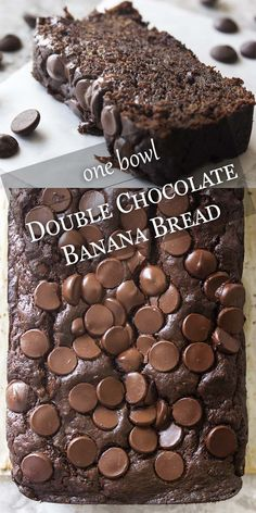 One Bowl Double Chocolate Banana Bread – Just a Little Bit of Bacon My awesome, moist double chocolate banana bread full of dark chocolate, cocoa powder, bananas, and sour cream can be mixed up in one bowl. Easy and great for dessert or a snack anytime. Best Banana Bread, Chocolate Chip Banana Bread, Banana Bread Recipes, One Bowl Banana Bread, Banana Bread Brownies, Health Banana Bread, Leftover Banana Recipes, Overripe Banana Recipes, Banana Bread Cupcakes
