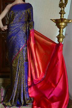 Blue handwoven pure kanchivaram silk saree with thread woven vanashrigaram motif on all over ,pink zari rich pallu, and pink plain blouse INR Whatsapp: 7019277192 Lace Saree, Raw Silk Saree, Wedding Silk Saree, Indian Silk Sarees, Organza Saree, Soft Silk Sarees, Saree Dress, Indian Beauty Saree, Bengali Saree