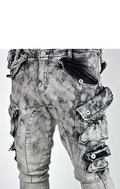 Dark clouds washed multiple cargo pockets slim jeans - 96 - NewStylish