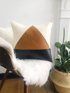 Rust and Black Leather Felt Triangle Color Block Modern Throw Pillow, – Creative Leather Throw Pillows, Black Throw Pillows, Leather Pillow, Cute Pillows, Diy Pillows, Sofa Pillows, Throw Cushions, Black And White Pillows, Floor Cushions