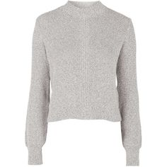 TOPSHOP Blouson Textured Knit Jumper ($65) ❤ liked on Polyvore featuring tops, sweaters, monochrome, jumper top, white sweater, topshop sweaters, topshop tops and lightweight sweaters