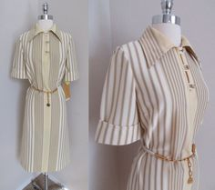 60s NOS Belted Striped Polyester Dress Butte Knit White Yellow Brown w/ Tags S #ButteKnit #Shift #Business