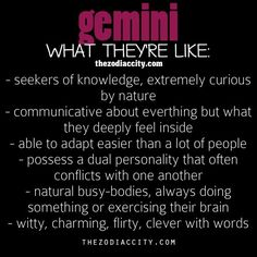 Gemini - What They are Like in a Nutshell.  #Gemini @Jessica Lu Signs #Personality #zodiac #astrology #PeopleSkills #Relationships #zodiac #WesternAstrology #WesternZodiac#Compatibility #Horoscope