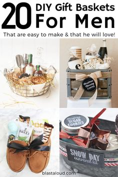 20 DIY gift baskets for men that you can use as inspiration to give your guy the perfect gift. Customize & personalize these gift baskets however you want! gifts for men Gift Baskets For Men: 20 DIY Gift Baskets For Him That He Will Love Diy Gifts For Christmas, Christmas Gift Baskets, Christmas Ideas For Men, Christmas Presents For Husband, Xmas Gifts For Him, Amazon Christmas, Thoughtful Christmas Gifts, Gift Baskets For Him, Diy Gift Baskets
