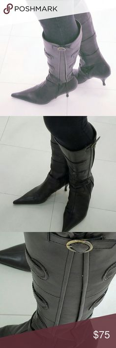 Boots Pointy toe boots with 2 1/2 inch heel, front and side details. Leather.  Made in Italy Vero Cuoio Shoes Heeled Boots