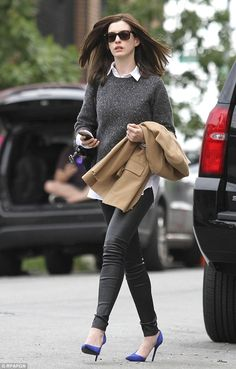 Dressed to impress: Anne has sported a number of stylish outfits on the set of her new movie.