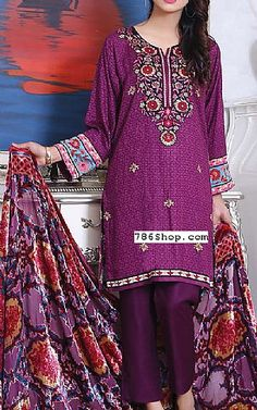 Plum Twill Suit | Buy Sana Samia Pakistani Dresses and Clothing online in USA, UK