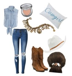 Texan Cowgirl by sjustice923 on Polyvore featuring polyvore fashion style WithChic Sweet Romance RVCA Urban Decay HiEnd Accents clothing