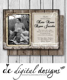 Rustic Invitation Burlap and Lace Wood  by DCDigitalDesigns