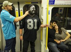 Oakland Raiders and Miami Dolphins fans descend on Wembley as NFL comes to London once again Oakland Raiders Funny, Raiders Fans, Wembley Stadium, London Underground, Miami Dolphins, Mail Online, Daily Mail, Nfl, Paint