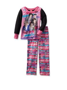 62% OFF One Direction Girl\'s I Love 1D 2-Piece Long Sleeve Pajama Set (Pink Flash)