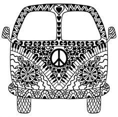 70s van coloring pages   Ausmalbild Erwachsene - VW T1   bg   Pinterest ...