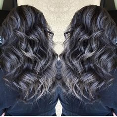 Beautiful silver gray highlights over smoky darkest brunette hair by @sydniiee She has such a talent for smoky hair color designs as well as vibrant a and pastels. #hotonbeauty