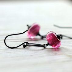 Glass Beaded Earrings Pink Lampwork Glass Beads by JarosDesigns