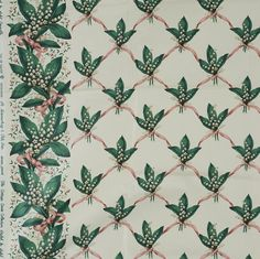 """Fabric Sample, Lily of Galtee, Glazed Chintz Pink Ribbon A sample of a Brunschwig & Fils Inc. fabric design, no. 36465.01. This is a screen print from the Cottage Orné Collection styled by Sybil Connolly. The pattern is """"Lily of Galtee"""" and the fabric is dated MCMLXXXIX (1989). The fabric is 100% glazed cotton chintz. Chintz Fabric, Fabric Samples, Fabric Design, Screen Printing, Swatch, Ribbon, Lily, Cottage, Interior Design"""