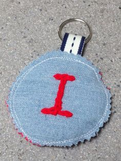 Capital I Keyring, Embroidered letter I, Fun Bag Tag, Upcycled denim keyring, Scrappy Fabric Keychain, Cute eco girls bag tag, back 2 school by…