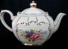 Sadler Teapot Numbered   Sadler Teapot England Vintage Roses Shabby Cream Gold Elegant Pink ...