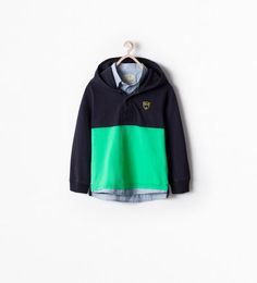 TWO-TONE HOODED RUGBY SHIRT