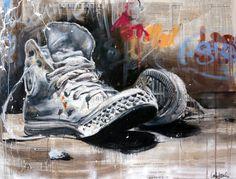 CECILE DESSERLE Shoes n°1 Oil, aerosol and collage on canvas format 114 x 146 cm | Cécile Desserle - Site Officiel
