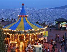 Tibidabo carousel in fun park. Barcelona, Catalonia.