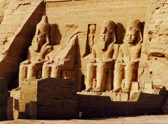 Abu Simbel - statues. In the 1960s the new High Dam was built at Aswan which resulted in a build-up of water which threatened to engulf the monuments along its Nubian shores. (http://egyptsites.wordpress.com/2009/01/31/abu-simbel/, Su, January, 2009)