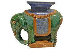 Chinese Glazed Ceramic Elephant Stool / Vintage