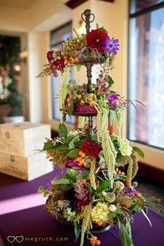 tiered arrangement, would be nice with fruit and vegetables too.