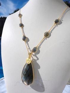 pendant necklace gold labradorite handmade by veroniquesjewelry, $98.00