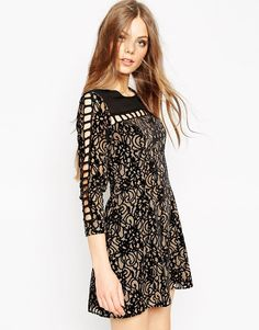 Image 1 of ASOS Dress In Velvet Burnout and Ladder Trim