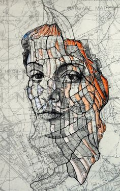 Ink on reproduced military maps of the Western Front, WWI. (Photo by Ed Fairburn/Rex Features) http://avaxnews.me/appealing/Illustrator_Blends_Maps_and_Art_in_Stunning_Face_Portraits.html
