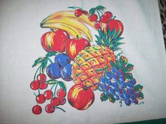 Vintage 40s 50s Bright Colored Fruit Print by atomicbettiescloset