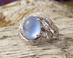Vintage Antique 5.00ct Blue Sapphire Diamond Unique Art Deco Engagement Ring White Gold 1940's WWII Mid Century Retro by DiamondAddiction on Etsy