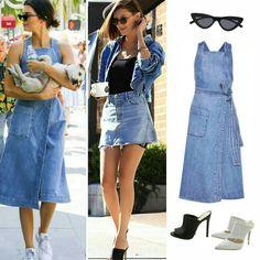 Seguindo as tendências retrô do ano, temos as inspirações denim, passeio, da Kendall Jenner, de vestido #stellamccartney com óculos #lespecs e tênis da #adidas. E da Bella Hadid, de jaqueta #samimiro, saia #grlfrnddenim e mules da #schutz.💙💥 #kendalljenner #bellahadid #creative #fashion #denimstyle #inspirations