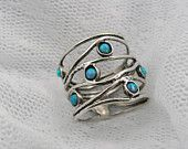 OPAL and sterling silver- OCEAN wave ring (sr-9773). $19.00, via Etsy.