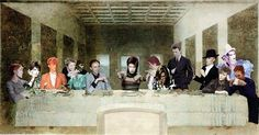 sittinginatinkan: This is the greatest thing in the entire universe LOL. David Bowie as everyone at the last supper :D (Bowie has been Jesus. Angela Bowie, David Bowie Starman, David Bowie Art, Duncan Jones, The Bowie, Major Tom, Ziggy Stardust, Last Supper, Glam Rock